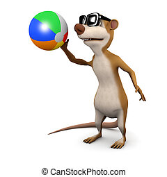 3d Meerkat plays with a beachball - 3d render of a cartoon...