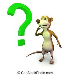 3d Meerkat question mark - 3d render of a cartoon meerkat...