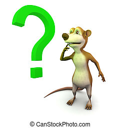 3d Meerkat question mark - 3d render of a cartoon meerkat...