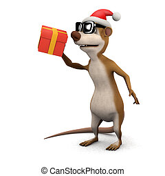 3d Meerkat Santa - 3d render of a cartoon meerkat Santa with...