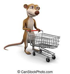 3d Meerkat shopping - 3d render of a cartoon meerkat with a...