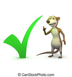 3d Meerkat tick - 3d render of a cartoon meerkat with a...