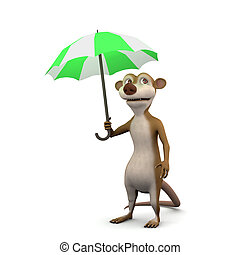 3d Meerkat umbrella - 3d render of a cartoon meerkat under...