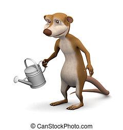 3d Meerkat watering the garden - 3d render of a cartoon...