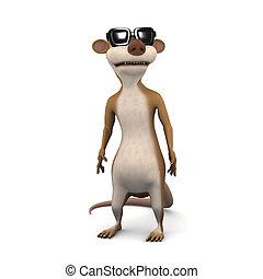 3d render of a cartoon meerkat wearing sunglasses