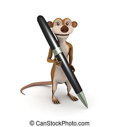 3d Meerkat writes with a pen - 3d render of a cartoon...
