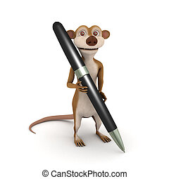 3d Meerkat writes with a pen - 3d render of a cartoon...
