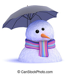 3d Melting snowman under umbrella - 3d render of a snowman...
