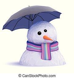 3d Melting snowman under umbrella - 3d render of a snowman...
