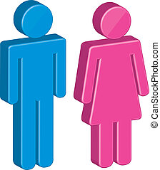 3d men and women sign over white background. vector
