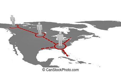3d men appearing on a map with red connections