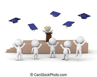 3D men at graduation