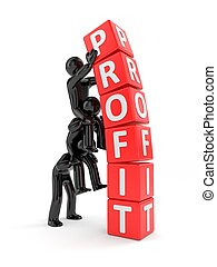 3D men build a pyramid of cubes with the word profit. 3d illustration