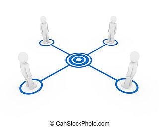 3d men connection blue