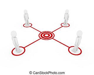 3d men connection red - 3d human men connection team...