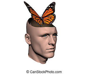 3D men cracked head with butterfly