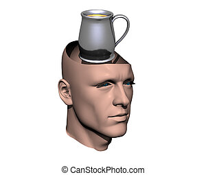3D men cracked head with cup