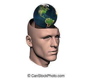 3D men cracked head with earth