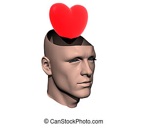 3D men cracked head with heart