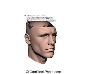 3D men cracked head with keyboard