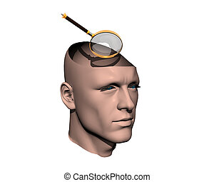 3D men cracked head with magnifying glass
