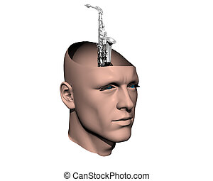 3D men cracked head with sax