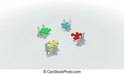 3d-men doing a colorful puzzle - Animation representing a ...
