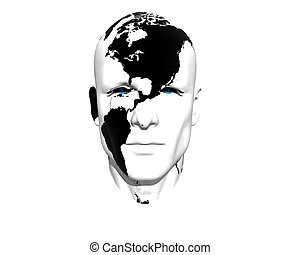 3D men face with earth texture