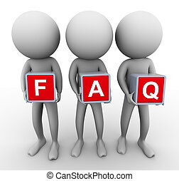 3d men faq - 3d men holding cube 'faq' frequently asked...