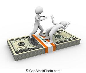 3d men fighting for money
