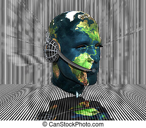 3D men head with earth texture