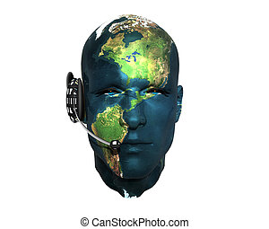 3D men head with earth texture with headphone isolated on...