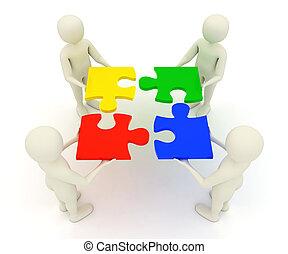 Four 3d men assembling colorful, assembled jigsaw puzzle pieces