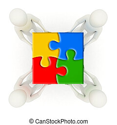 3d men holding assembled jigsaw puzzle pieces - Four 3d men...