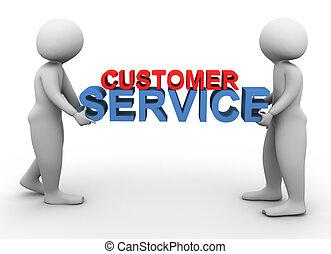 3d men holding customer service - 3d men holding text '...