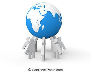 3D men holding earth globe
