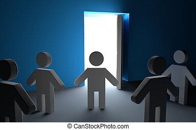 3d men looking at open door