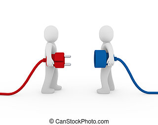 3d men human plug red blue cable energy