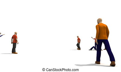 3D men presenting dancing concept against a white background...
