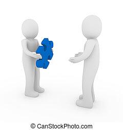 3d men puzzle blue teamwork