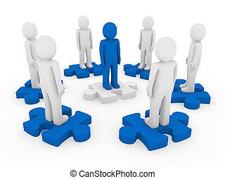 3d men puzzle circle blue teamwork success