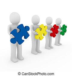 3d men puzzle teamwork red blue green yellow