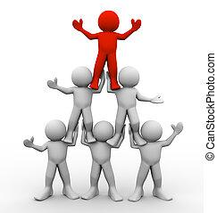 3d men pyramid