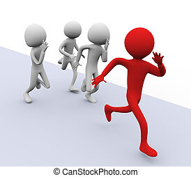 3D men running for winning. Concept of competition, Leadership, success etc.