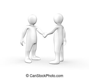 3d men shaking hands against a white background