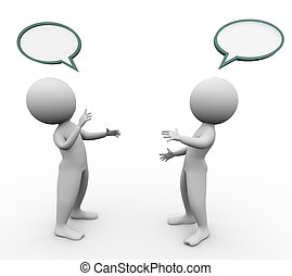 3d men speech bubble - 3d men with empty speech bubbles...