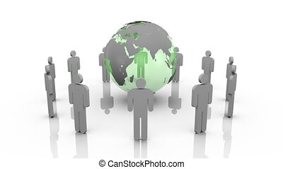 3d men surrounding a planet globe against a white background