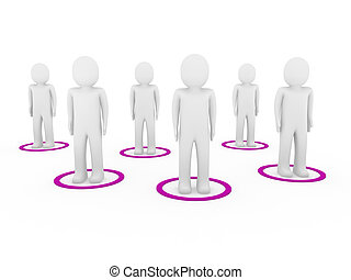 3d men teamwork network