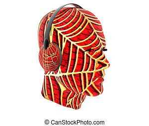 3D men textured face with headphone