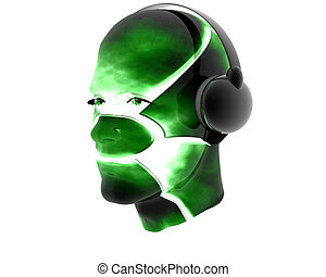 3D men textured face with headphone